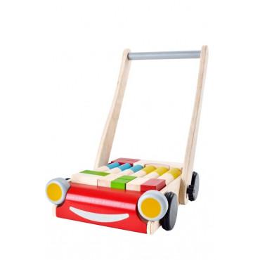 Chariot de marche avec cubes - Plan Toys