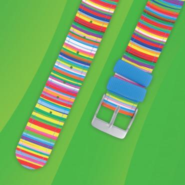 Bracelet montre Twistiti rayé multicolor