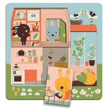 """Puzzle niveaux """"Cottage des lapins"""" - Djeco"""