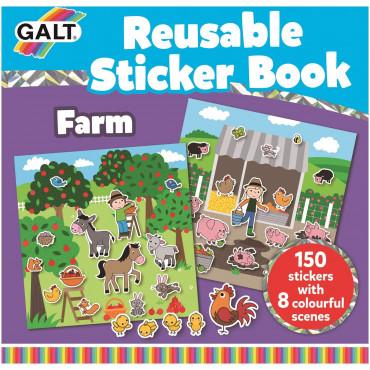 Livre avec stickers repositionnables, La ferme - Galt Toys