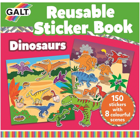 Livre avec stickers repositionnables, Dinosaures - Galt Toys