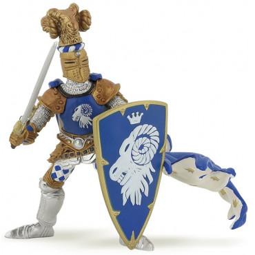 Maître des armes avec cimier bélier bleu - Papo