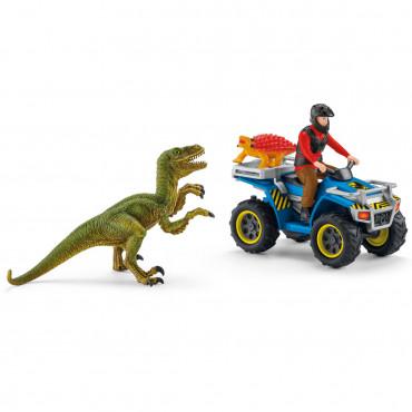 Fuite sur Quad face au vélociraptor - Schleich