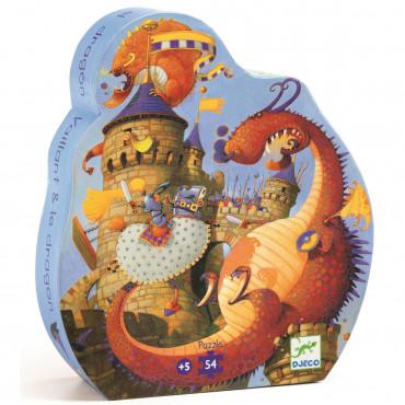 Puzzle silhouette 54 pcs, Vaillant et dragon - Djeco