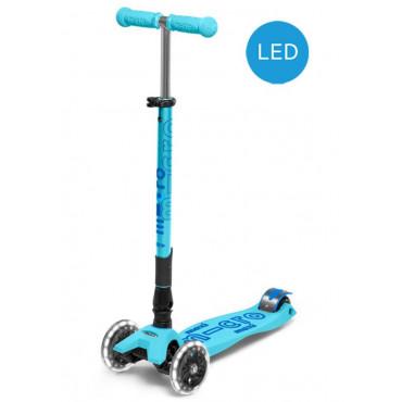 Trottinette maxi Deluxe bleue lagon pliable avec LED - micro