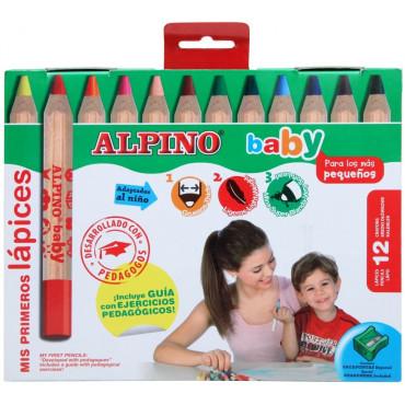ETUI 12 CRAYONS DE COULEURS ALPINO BABY