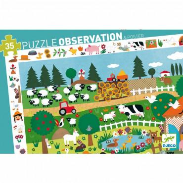 Puzzle observation La ferme 35 pcs - Djeco
